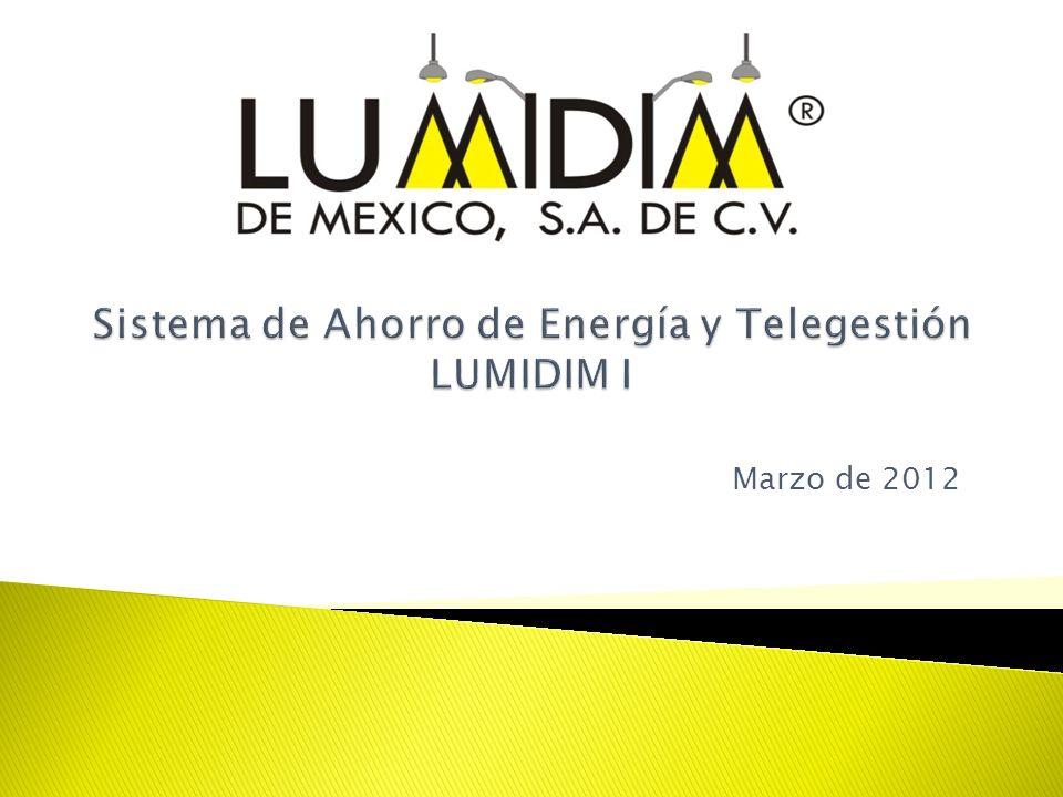 Descripción LUMIDIM I es un sistema de ahorro de energía y telegestión el cual está destinado al ahorro directo por ahorradores basados en la modificación de la impedancia, administración de horarios de encendidos y ahorros indirectos por administración de servicios de mantenimiento al alumbrado público.