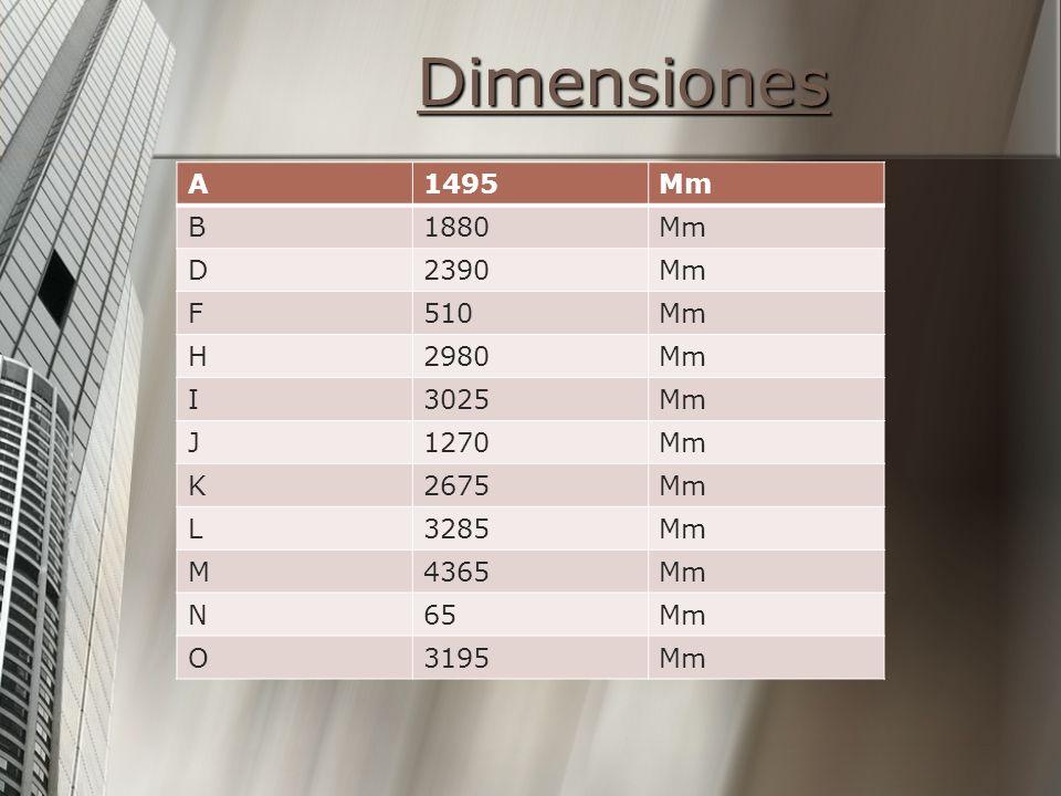 Dimensiones A1495Mm B1880Mm D2390Mm F510Mm H2980Mm I3025Mm J1270Mm K2675Mm L3285Mm M4365Mm N65Mm O3195Mm