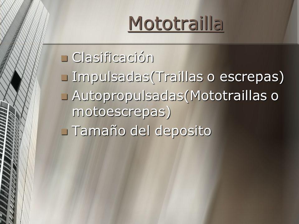 Mototrailla Clasificación Clasificación Impulsadas(Traillas o escrepas) Impulsadas(Traillas o escrepas) Autopropulsadas(Mototraillas o motoescrepas) Autopropulsadas(Mototraillas o motoescrepas) Tamaño del deposito Tamaño del deposito