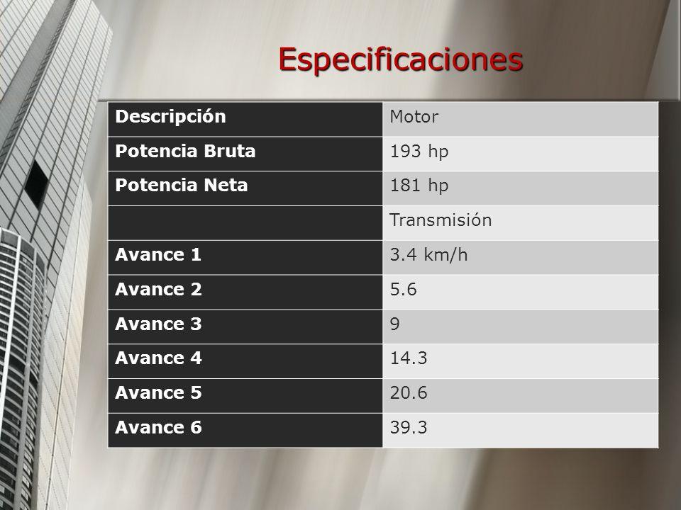 Especificaciones DescripciónMotor Potencia Bruta193 hp Potencia Neta181 hp Transmisión Avance 13.4 km/h Avance 25.6 Avance 39 Avance 414.3 Avance 520.6 Avance 639.3