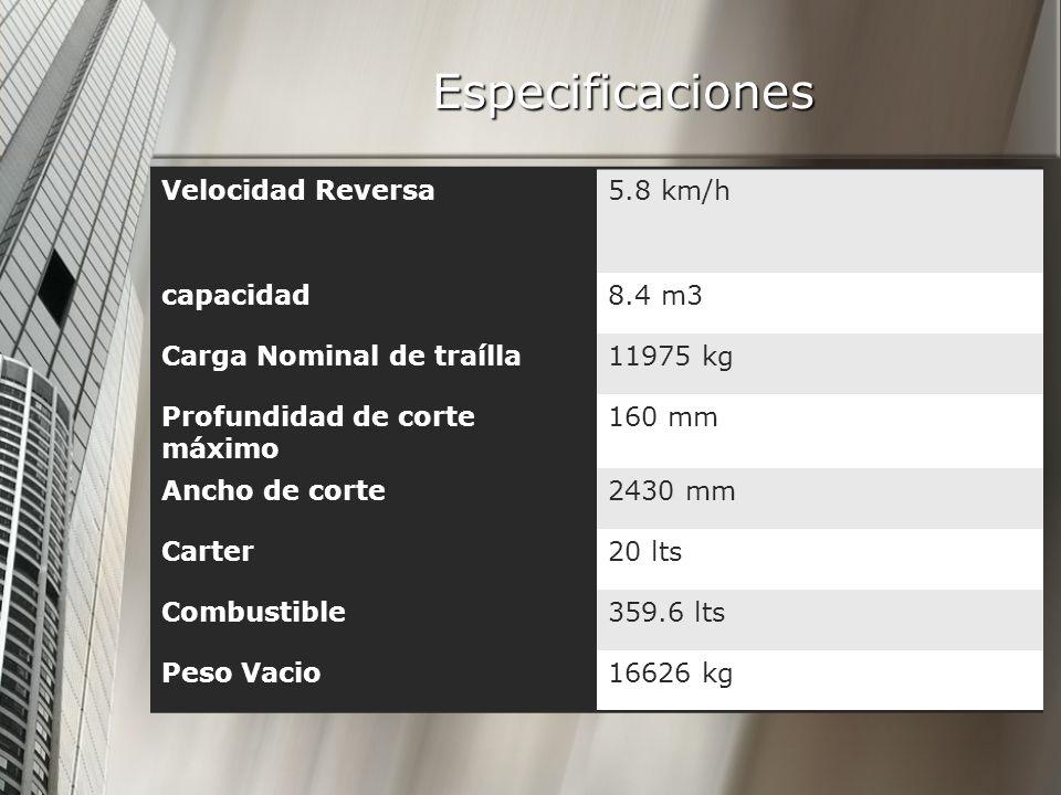 Especificaciones Velocidad Reversa5.8 km/h capacidad8.4 m3 Carga Nominal de traílla11975 kg Profundidad de corte máximo 160 mm Ancho de corte2430 mm Carter20 lts Combustible359.6 lts Peso Vacio16626 kg