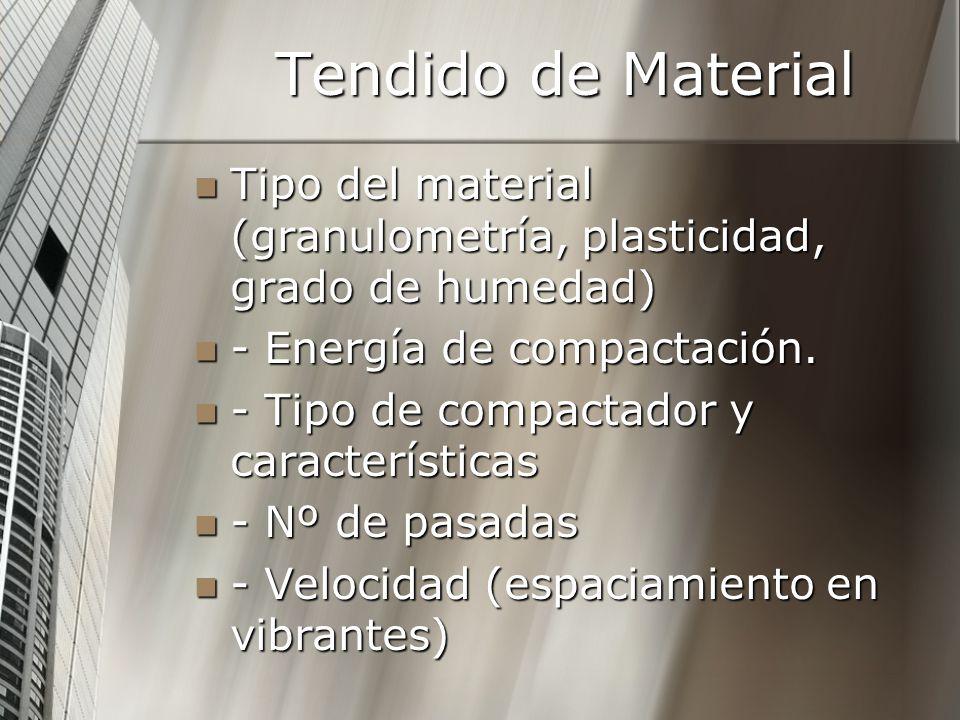 Tendido de Material Tipo del material (granulometría, plasticidad, grado de humedad) Tipo del material (granulometría, plasticidad, grado de humedad) - Energía de compactación.