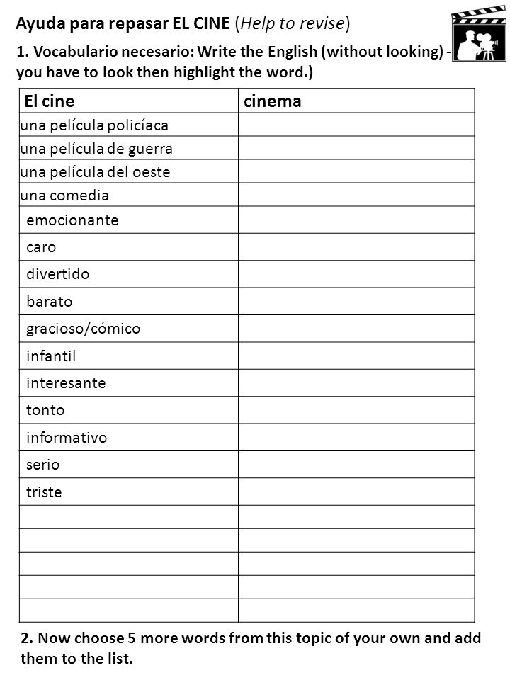 Ayuda para repasar EL CINE (Help to revise) 1. Vocabulario necesario: Write the English (without looking) – if you have to look then highlight the wor