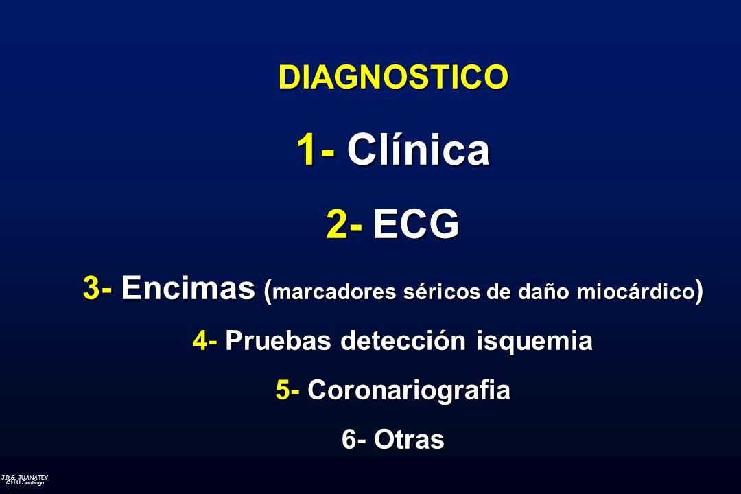 J.R.G. JUANATEY C.H.U.Santiago DIAGNOSTICO 1- Clínica 2- ECG 3- Encimas ( marcadores séricos de daño miocárdico ) 4- Pruebas detección isquemia 5- Cor
