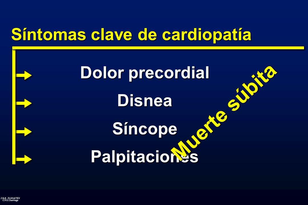 J.R.G. JUANATEY C.H.U.Santiago Síntomas clave de cardiopatía Dolor precordial Disnea Síncope Palpitaciones Muerte súbita