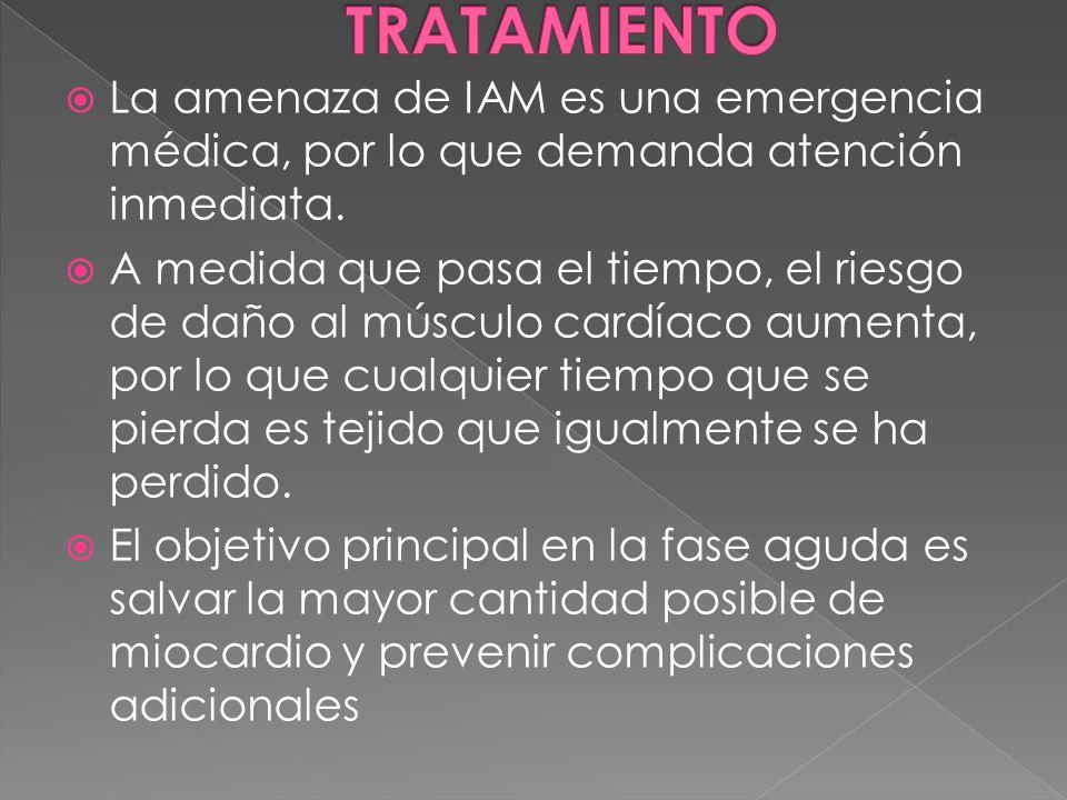 La amenaza de IAM es una emergencia médica, por lo que demanda atención inmediata. A medida que pasa el tiempo, el riesgo de daño al músculo cardíaco