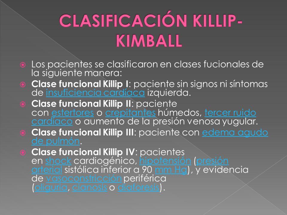 Los pacientes se clasificaron en clases fucionales de la siguiente manera: Clase funcional Killip I : paciente sin signos ni síntomas de insuficiencia