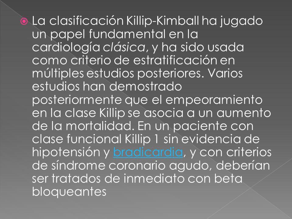 La clasificación Killip-Kimball ha jugado un papel fundamental en la cardiología clásica, y ha sido usada como criterio de estratificación en múltiple