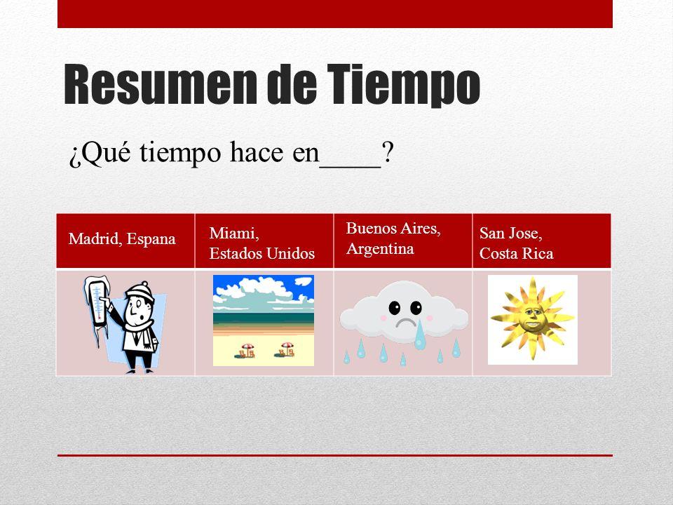 Resumen de Tiempo ¿Qué tiempo hace en____? Madrid, Espana Miami, Estados Unidos Buenos Aires, Argentina San Jose, Costa Rica