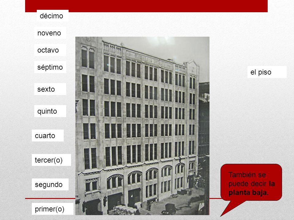 primer(o) segundo tercer(o) cuarto quinto sexto séptimo octavo noveno décimo el piso También se puede decir la planta baja.
