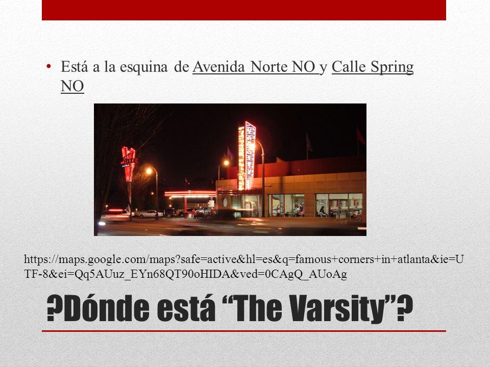 ?Dónde está The Varsity? Está a la esquina de Avenida Norte NO y Calle Spring NO https://maps.google.com/maps?safe=active&hl=es&q=famous+corners+in+at
