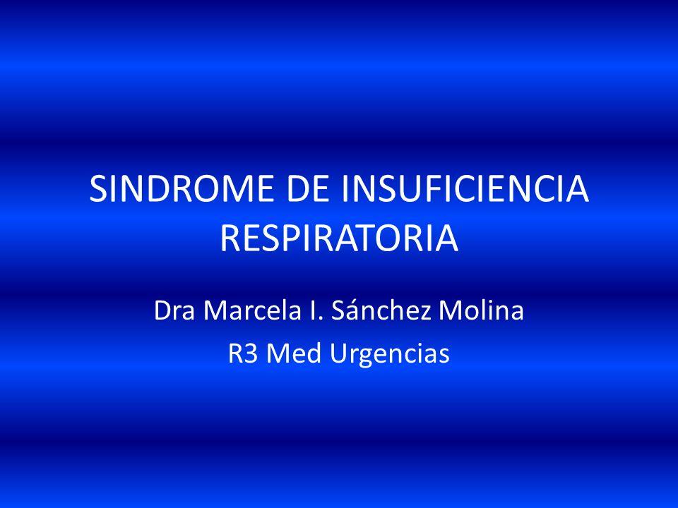 SINDROME DE INSUFICIENCIA RESPIRATORIA Dra Marcela I. Sánchez Molina R3 Med Urgencias