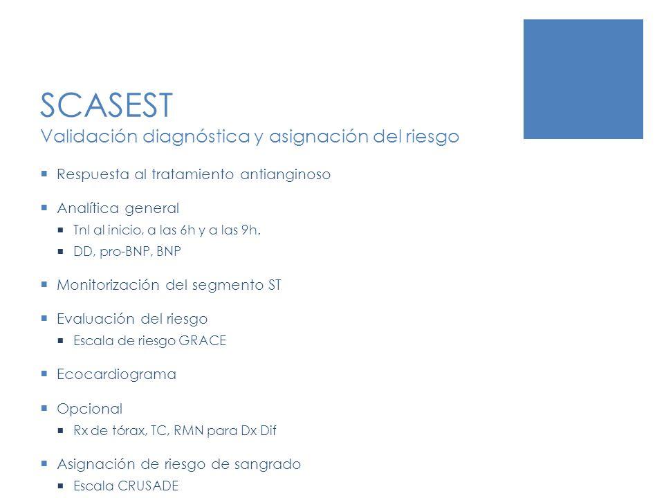 SCASEST Validación diagnóstica y asignación del riesgo Respuesta al tratamiento antianginoso Analítica general TnI al inicio, a las 6h y a las 9h. DD,