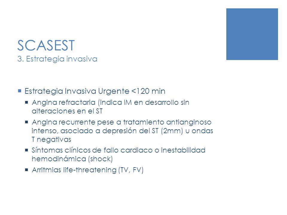 SCASEST 3. Estrategia invasiva Estrategia Invasiva Urgente <120 min Angina refractaria (indica IM en desarrollo sin alteraciones en el ST Angina recur