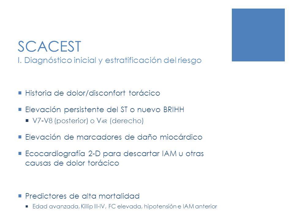 SCACEST I. Diagnóstico inicial y estratificación del riesgo Historia de dolor/disconfort torácico Elevación persistente del ST o nuevo BRIHH V7-V8 (po