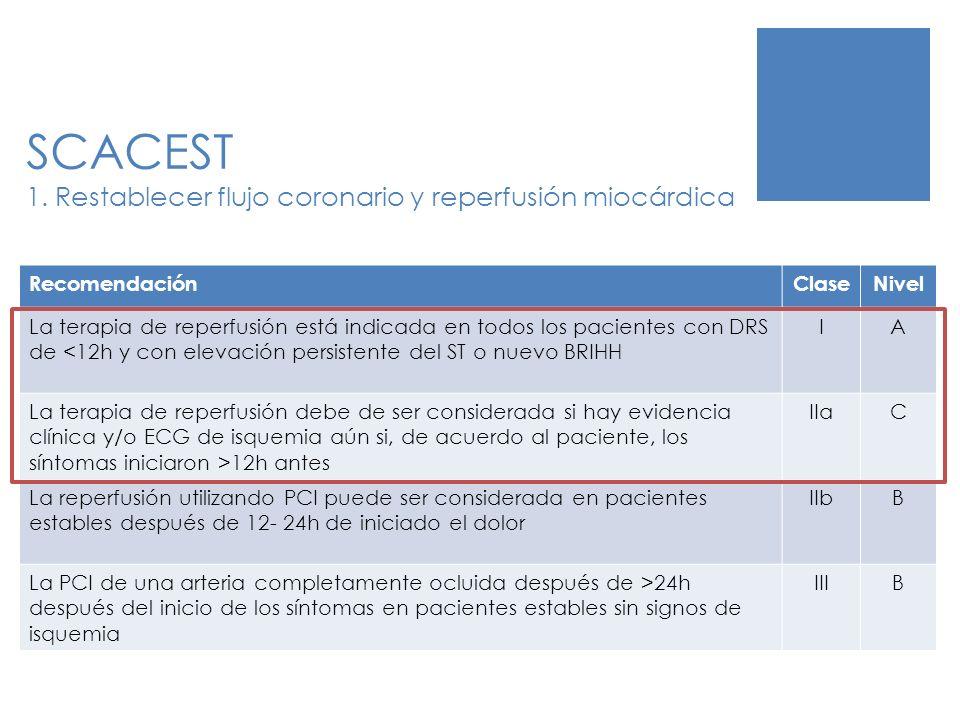 SCACEST 1. Restablecer flujo coronario y reperfusión miocárdica RecomendaciónClaseNivel La terapia de reperfusión está indicada en todos los pacientes