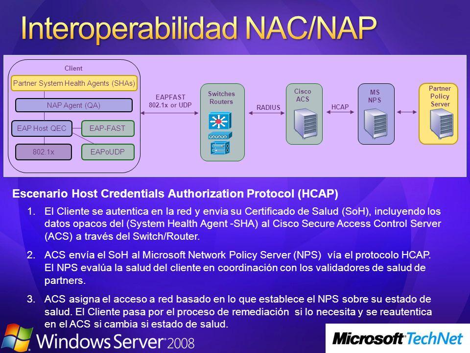 1.El Cliente se autentica en la red y envia su Certificado de Salud (SoH), incluyendo los datos opacos del (System Health Agent -SHA) al Cisco Secure