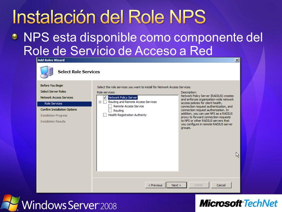 NPS esta disponible como componente del Role de Servicio de Acceso a Red