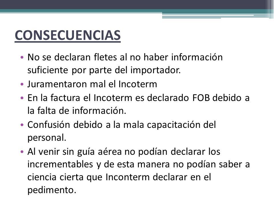 CONSECUENCIAS No se declaran fletes al no haber información suficiente por parte del importador.