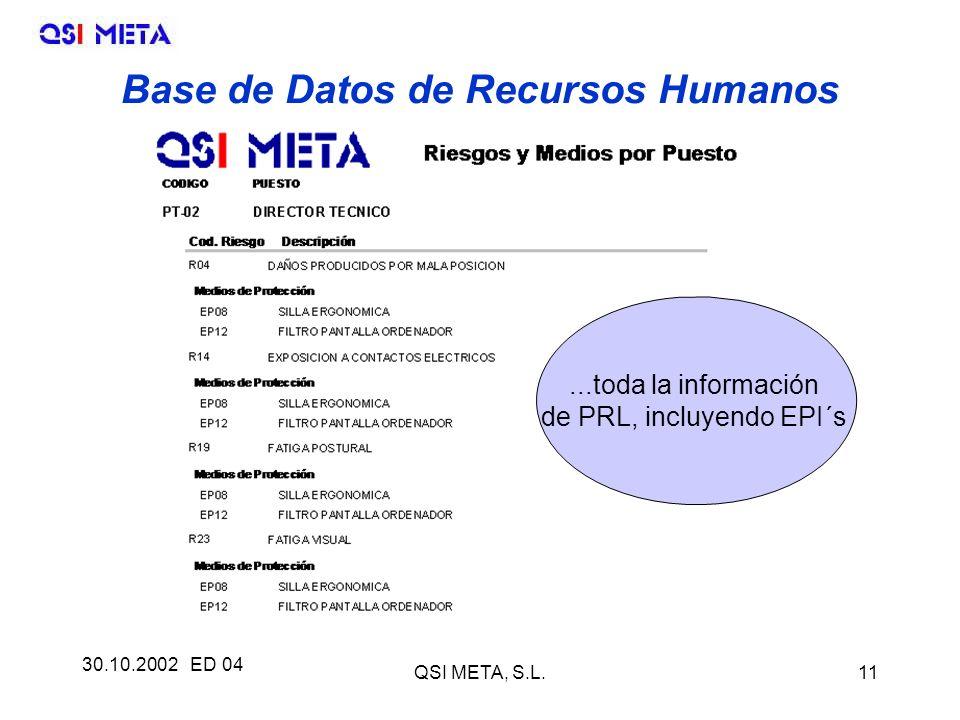 30.10.2002 ED 04 QSI META, S.L.11...toda la información de PRL, incluyendo EPI´s Base de Datos de Recursos Humanos
