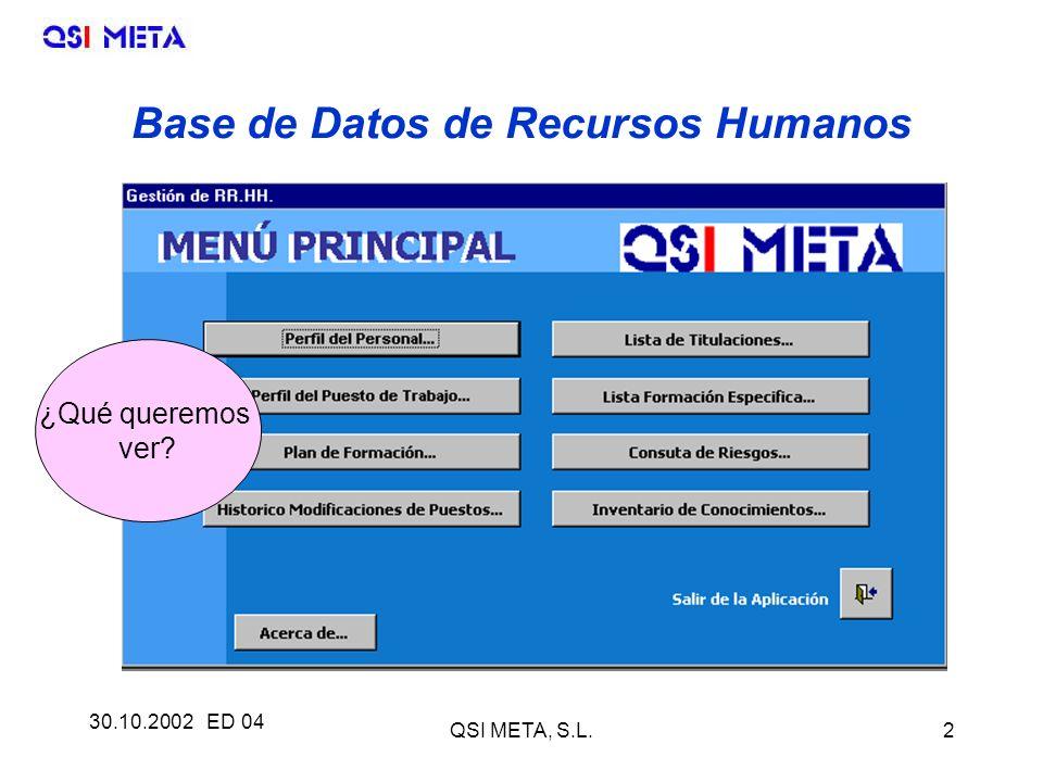 30.10.2002 ED 04 QSI META, S.L.2 Base de Datos de Recursos Humanos ¿Qué queremos ver?