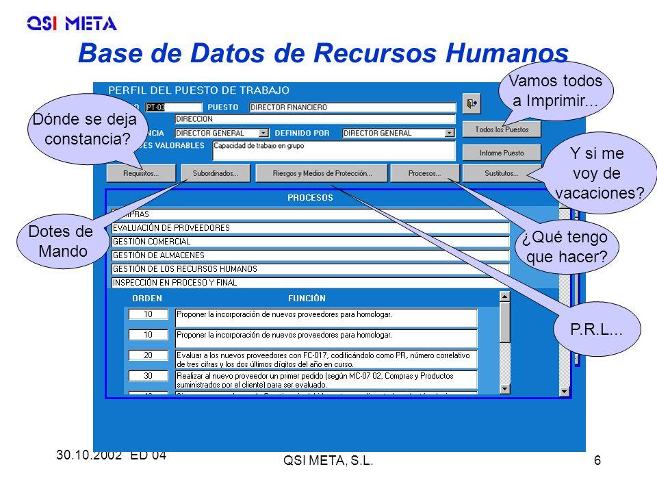 30.10.2002 ED 04 QSI META, S.L.6 Dónde se deja constancia.
