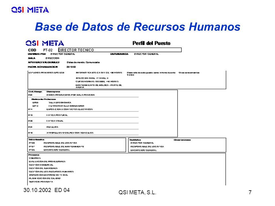 30.10.2002 ED 04 QSI META, S.L.7 Base de Datos de Recursos Humanos