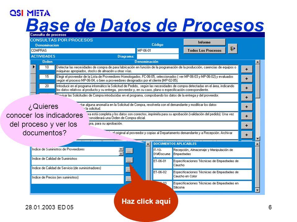 28.01.2003 ED 05QSI META, S.L.6 Base de Datos de Procesos ¿Quieres conocer los indicadores del proceso y ver los documentos? Haz click aquí