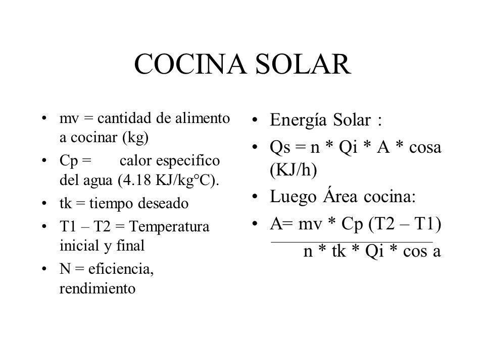 COCINA SOLAR mv = cantidad de alimento a cocinar (kg) Cp = calor especifico del agua (4.18 KJ/kg°C). tk = tiempo deseado T1 – T2 = Temperatura inicial