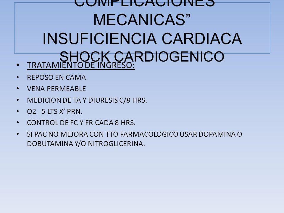 TRATAMIENTO DE INGRESO: REPOSO EN CAMA VENA PERMEABLE MEDICION DE TA Y DIURESIS C/8 HRS. O2 5 LTS X PRN. CONTROL DE FC Y FR CADA 8 HRS. SI PAC NO MEJO
