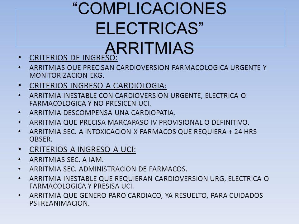CRITERIOS DE INGRESO: ARRITMIAS QUE PRECISAN CARDIOVERSION FARMACOLOGICA URGENTE Y MONITORIZACION EKG. CRITERIOS INGRESO A CARDIOLOGIA : ARRITMIA INES