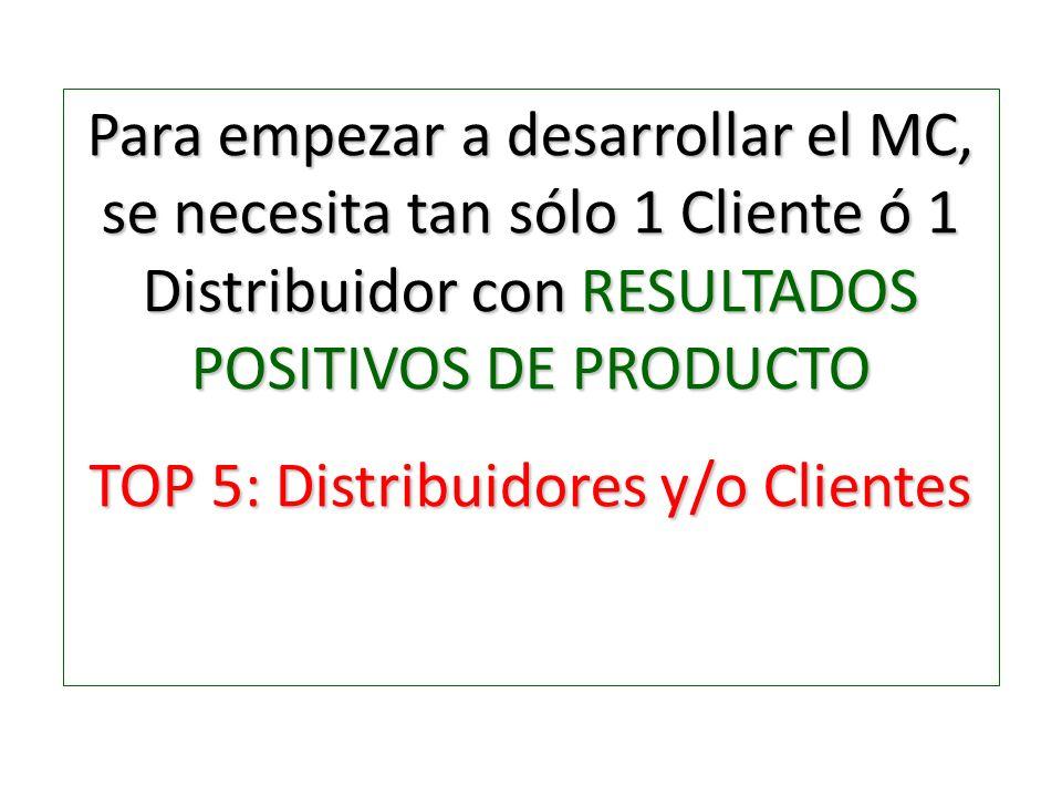 Para empezar a desarrollar el MC, se necesita tan sólo 1 Cliente ó 1 Distribuidor con RESULTADOS POSITIVOS DE PRODUCTO TOP 5: Distribuidores y/o Clien