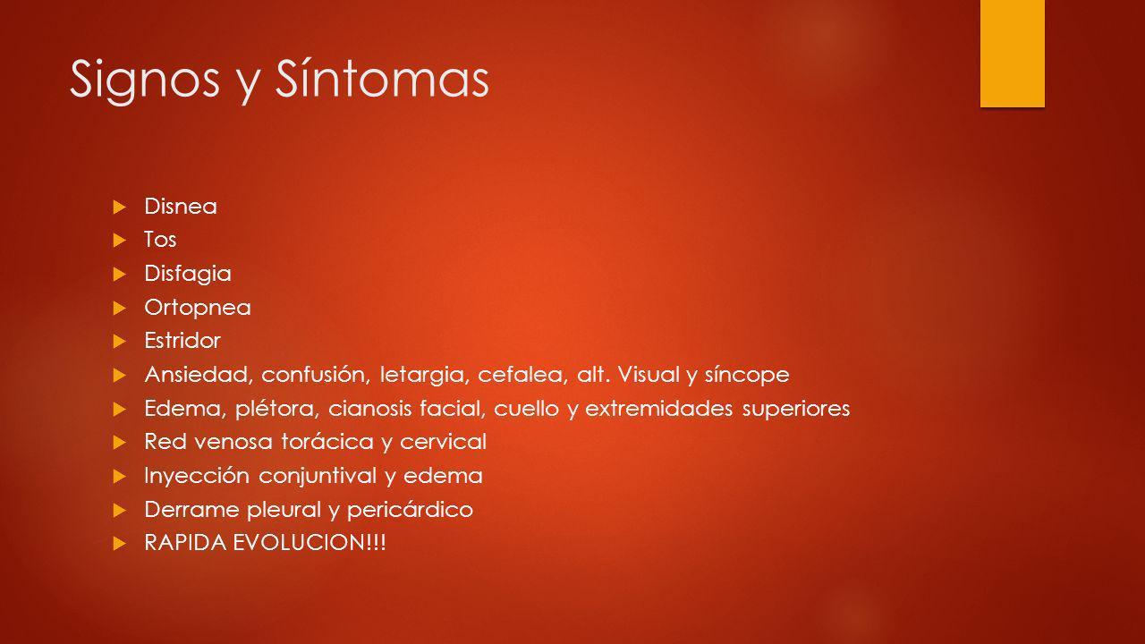 Signos y Síntomas Disnea Tos Disfagia Ortopnea Estridor Ansiedad, confusión, letargia, cefalea, alt. Visual y síncope Edema, plétora, cianosis facial,