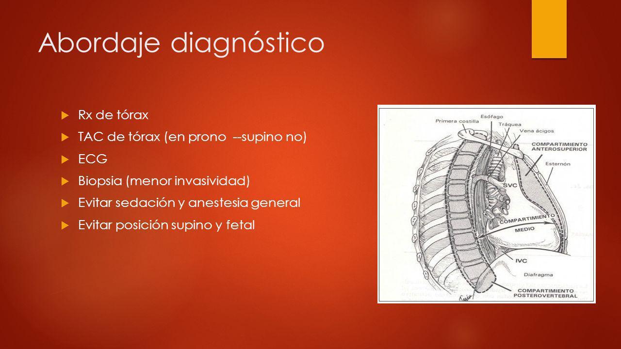 Abordaje diagnóstico Rx de tórax TAC de tórax (en prono --supino no) ECG Biopsia (menor invasividad) Evitar sedación y anestesia general Evitar posici