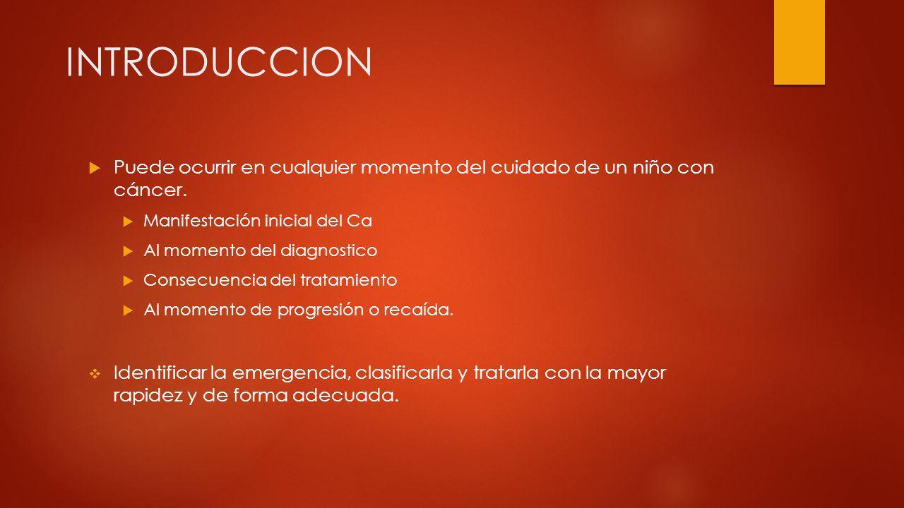 INTRODUCCION Puede ocurrir en cualquier momento del cuidado de un niño con cáncer. Manifestación inicial del Ca Al momento del diagnostico Consecuenci