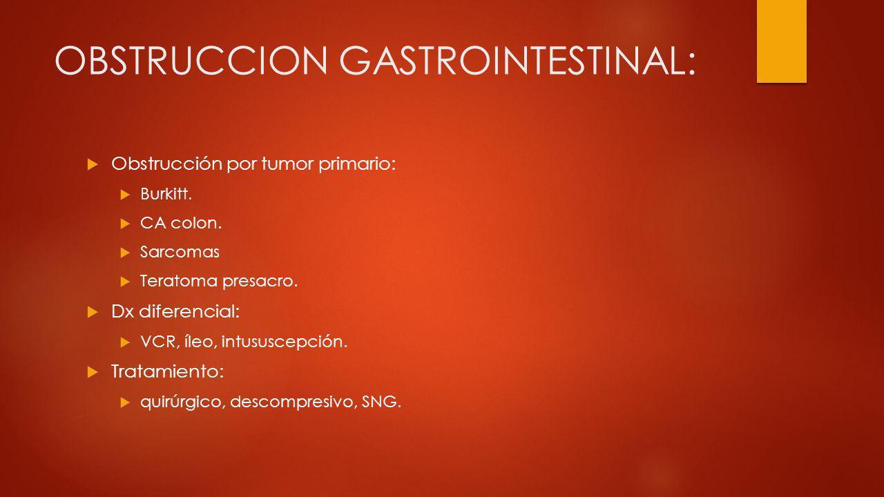 OBSTRUCCION GASTROINTESTINAL: Obstrucción por tumor primario: Burkitt. CA colon. Sarcomas Teratoma presacro. Dx diferencial: VCR, íleo, intususcepción