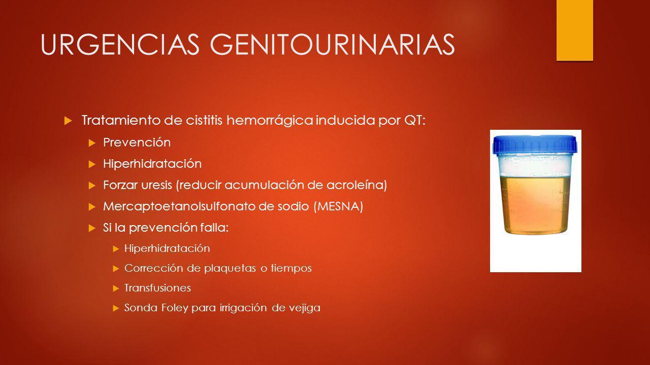 URGENCIAS GENITOURINARIAS Tratamiento de cistitis hemorrágica inducida por QT: Prevención Hiperhidratación Forzar uresis (reducir acumulación de acrol