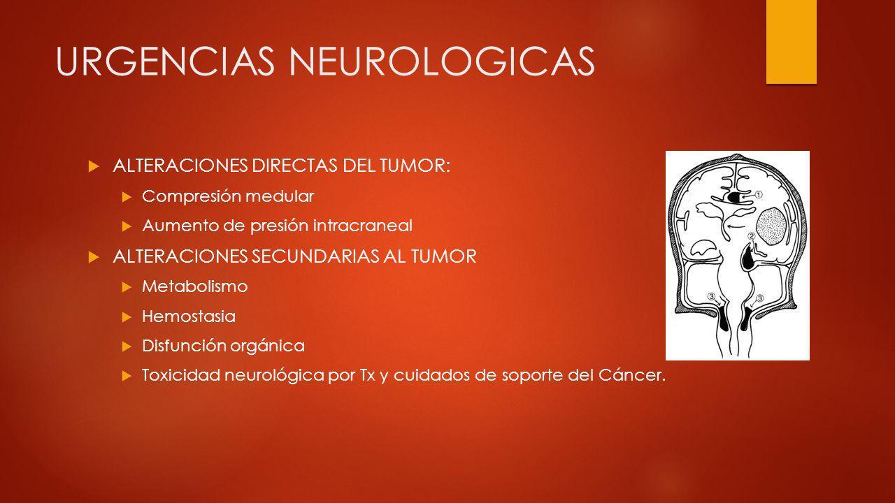 URGENCIAS NEUROLOGICAS ALTERACIONES DIRECTAS DEL TUMOR: Compresión medular Aumento de presión intracraneal ALTERACIONES SECUNDARIAS AL TUMOR Metabolis
