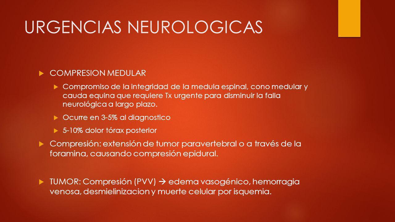 URGENCIAS NEUROLOGICAS COMPRESION MEDULAR Compromiso de la integridad de la medula espinal, cono medular y cauda equina que requiere Tx urgente para d