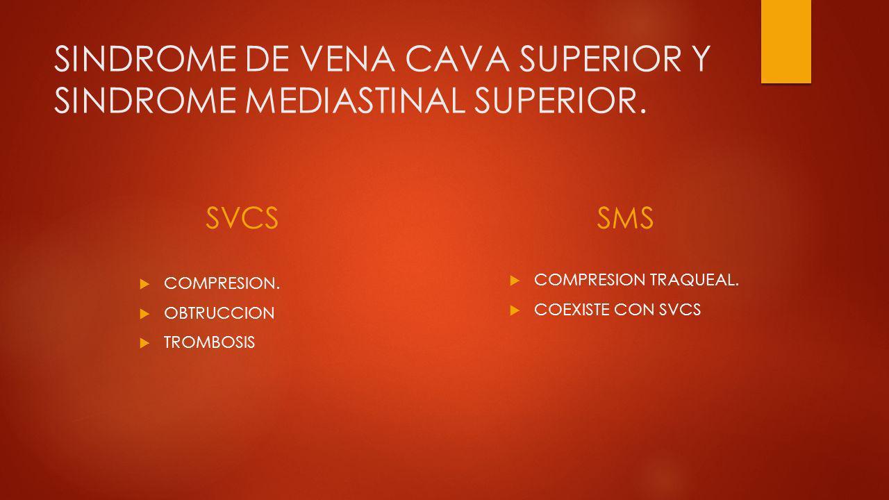 SINDROME DE VENA CAVA - NIÑOS: COMPRESION TRAQUEAL ( TOS, SIBILANCIAS, DISNEA) ( ESTRIDOR?) DRENAJE DEL FLUJO SANGUÍNEO VENOSO PROVENIENTE DE LA CABEZA, CUELLO, EXTREMIDADES SUPERIORES Y ZONA SUPERIOR DEL TÓRAX.