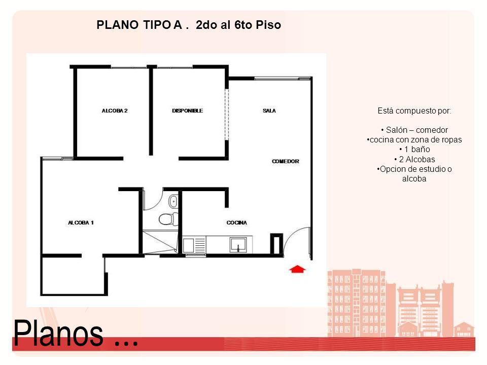 Planos... PLANO TIPO A. 2do al 6to Piso Está compuesto por: Salón – comedor cocina con zona de ropas 1 baño 2 Alcobas Opcion de estudio o alcoba