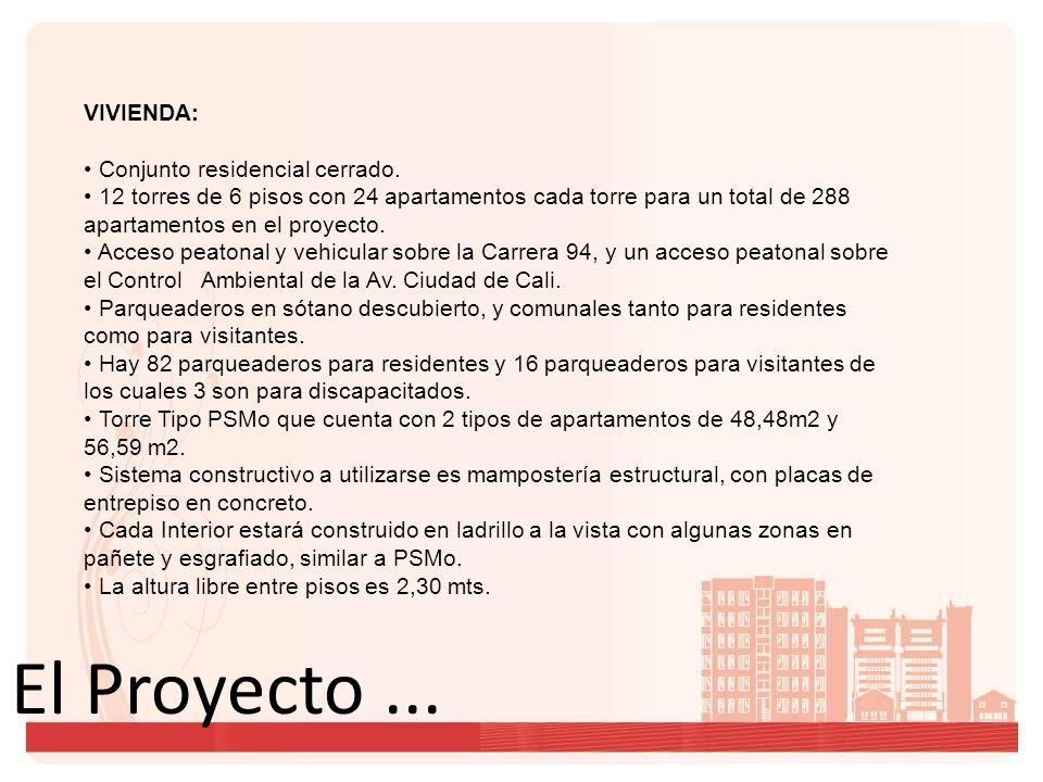 El Proyecto... VIVIENDA: Conjunto residencial cerrado. 12 torres de 6 pisos con 24 apartamentos cada torre para un total de 288 apartamentos en el pro