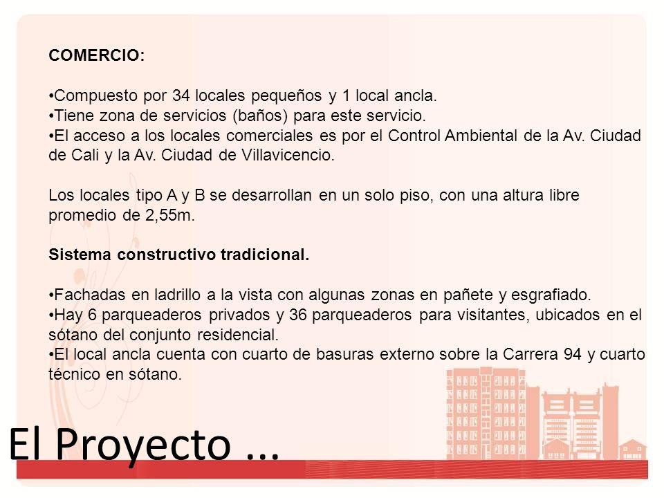 El Proyecto... COMERCIO: Compuesto por 34 locales pequeños y 1 local ancla. Tiene zona de servicios (baños) para este servicio. El acceso a los locale