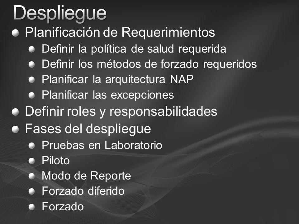 Planificación de Requerimientos Definir la política de salud requerida Definir los métodos de forzado requeridos Planificar la arquitectura NAP Planif