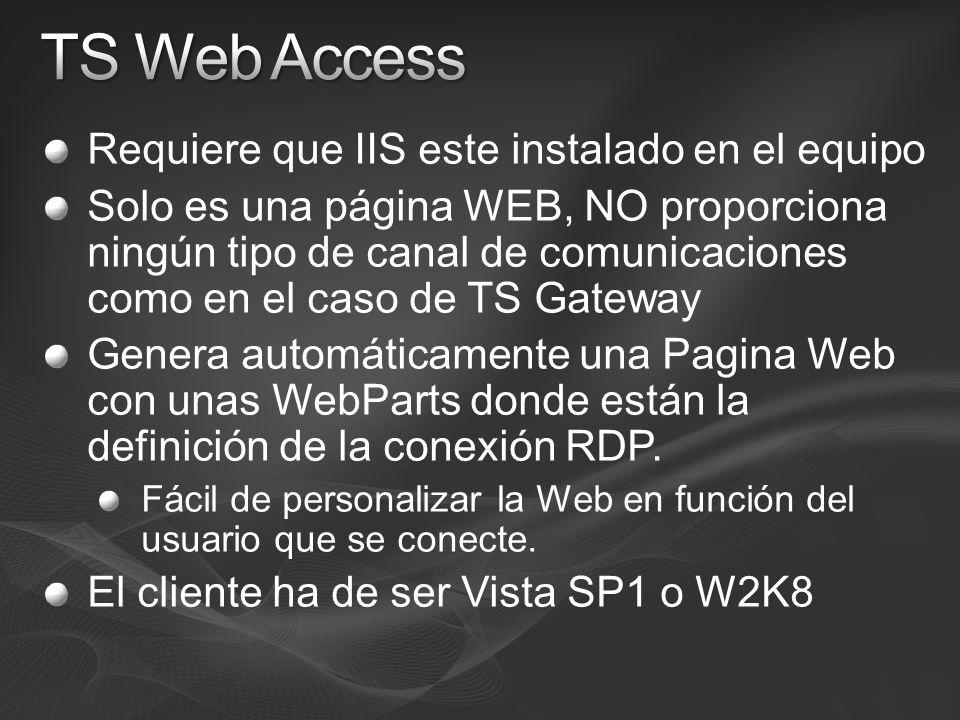 Requiere que IIS este instalado en el equipo Solo es una página WEB, NO proporciona ningún tipo de canal de comunicaciones como en el caso de TS Gatew