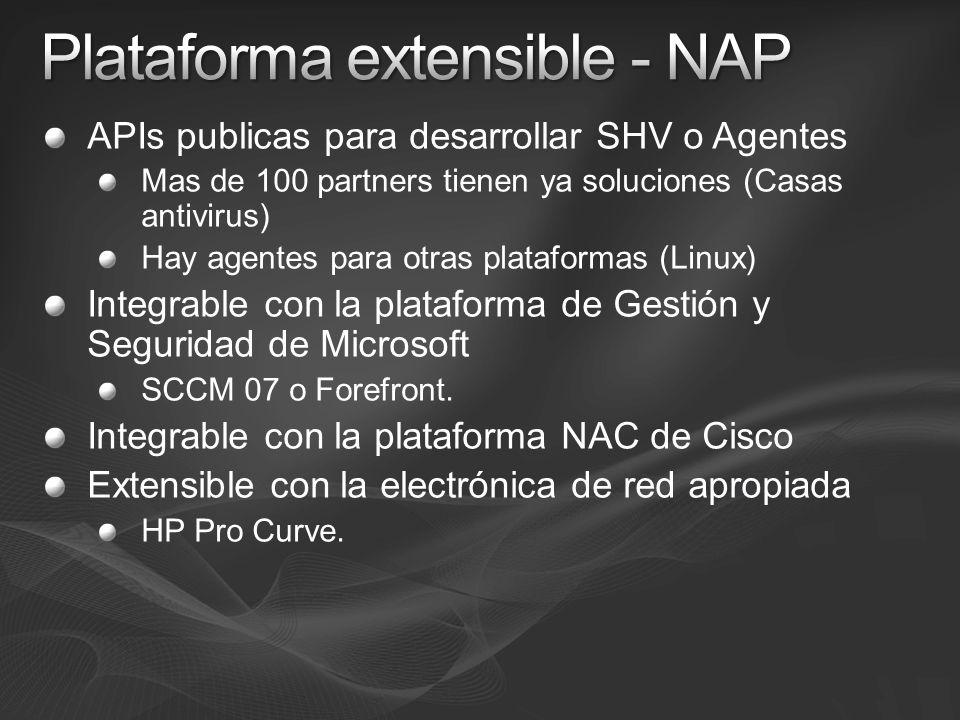 APIs publicas para desarrollar SHV o Agentes Mas de 100 partners tienen ya soluciones (Casas antivirus) Hay agentes para otras plataformas (Linux) Int
