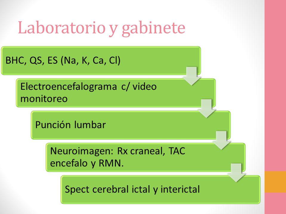 Laboratorio y gabinete BHC, QS, ES (Na, K, Ca, Cl) Electroencefalograma c/ video monitoreo Punción lumbar Neuroimagen: Rx craneal, TAC encefalo y RMN.