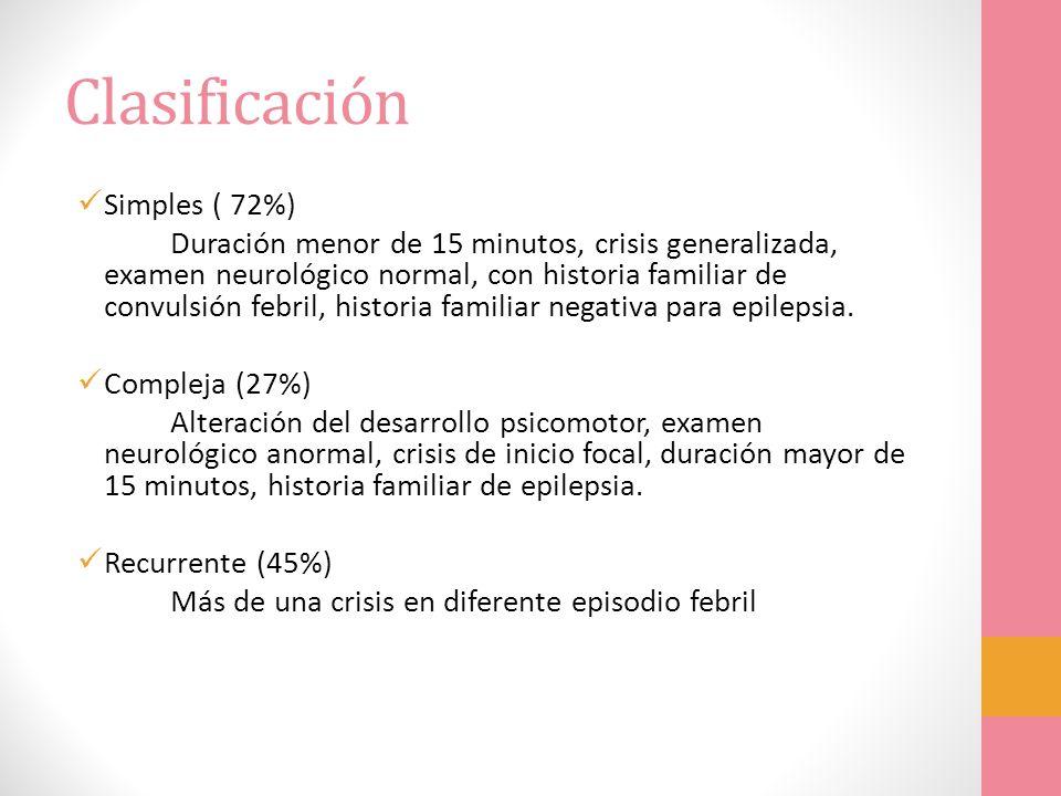 Clasificación Simples ( 72%) Duración menor de 15 minutos, crisis generalizada, examen neurológico normal, con historia familiar de convulsión febril,