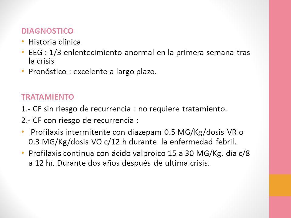 DIAGNOSTICO Historia clínica EEG : 1/3 enlentecimiento anormal en la primera semana tras la crisis Pronóstico : excelente a largo plazo. TRATAMIENTO 1