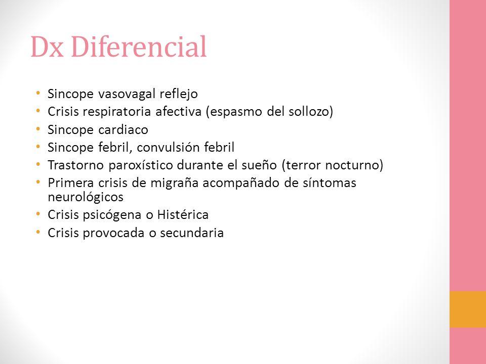 Dx Diferencial Sincope vasovagal reflejo Crisis respiratoria afectiva (espasmo del sollozo) Sincope cardiaco Sincope febril, convulsión febril Trastor